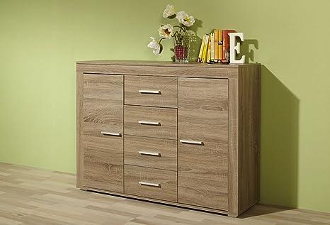"""Sideboard """"Carolin"""", Eiche Truffel, 4 Schubladen, 2 Turen, 120 x 88 x 35 cm, Kommode, Wohnzimmerkommode, Schlafzimmerkommode"""