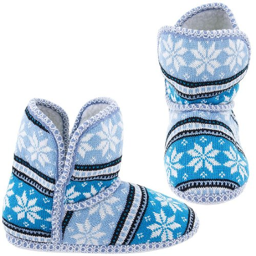 Cheap Blue Snowflake Fair-Isle Bootie Slippers for Women (B005Y4T7K6)