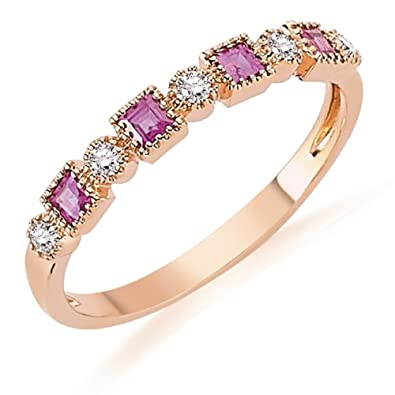 0.40 Carats 18k Solid White Gold Ruby and Diamond Engagement Wedding Bridal Promise Ring Band