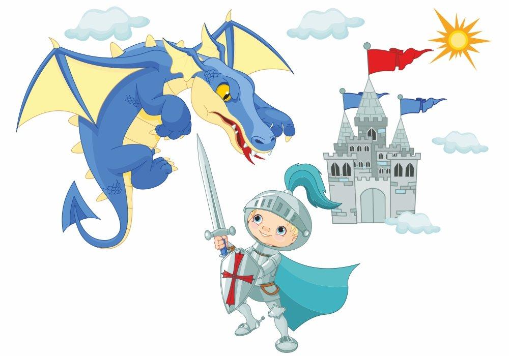 041 Wandtattoo Ritter mit Drache und Burg Schloss in 6 vers. Größen (1000 x 560 mm) bestellen