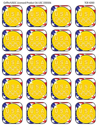 Us Olympic Gold Medal Stickers -- Case of 14