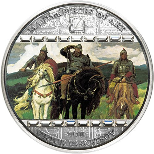 2010 CK masterpieces of art VIKTOR VASNETSOV Three Bogatyrs Masterpieces of Art 3 Oz Silver Coin 20$ Cook Islands 2010 Dollar Perfect Uncirculated