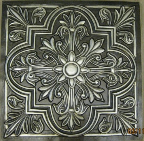 "Ceiling Tiles Victorian Stile #302 Antique Silver Decorative Plastic 24""x24"" Ul Rated.can Be Glue On,nail On,tape On,staple on Any Flat Serfase.cheap."