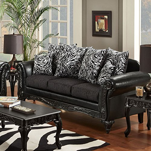 Lolita Contemporary Fabric & Faux Leather Sofa by Chelsea Home