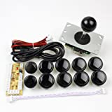 EG Starts Arcade Game DIY Parts kit for PC and Raspberry Pi 1/2/3 with RetroPie, 5Pin Joystick, 8x 30MM and 2x 24MM Buttons Mame Kits Part (Black)