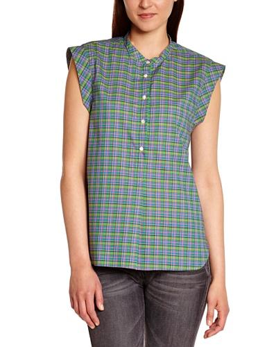 Bensimon - Maglietta con collo mao, senza maniche, donna, Verde (Vert), S