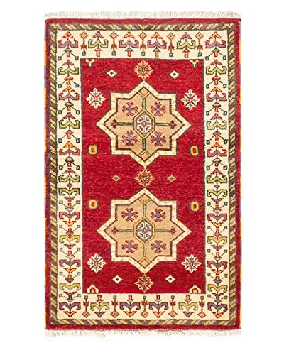 Hand-Knotted Royal Kazak Wool Rug, Red, 3' 2 x 5'