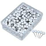 JoyFamily Map Tacks Push Pins, 1/5-Inch Round Head, 1/2-Inch Shank, 300 Pieces (White) (Color: White)