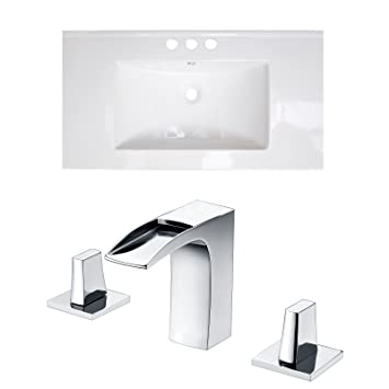 "Jade Bath JB-15872 36"" W x 18"" D Ceramic Top Set with 8"" o.c. CUPC Faucet, White"