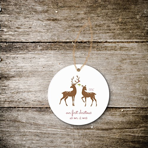 Christmas Ornament Deer Mistletoe Holiday Gift Newlyweds Just Married First Christmas Wedding Bridal Shower