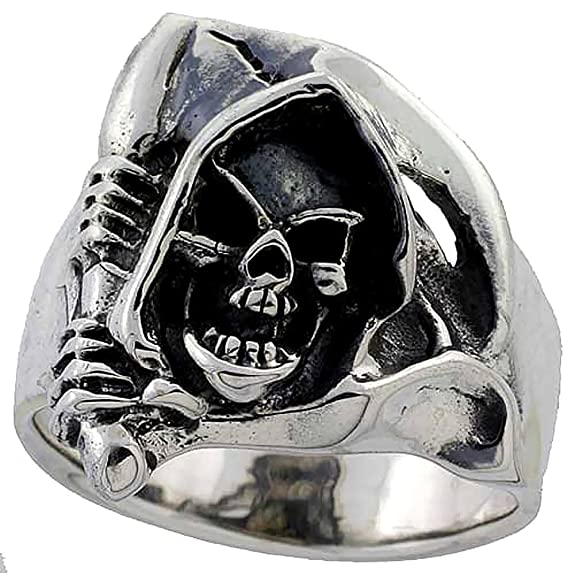 Sterling Silver Grim Reaper Head Skull Ring (25 mm) wide, sizes P to Z+2