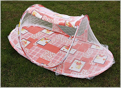 Portable Folding Baby Kid Toddler Child Infant Newborn Nursery Travel Bed Crib Canopy Pop Up Mosquito Net Netting Play Tent Playpen House Playhouse Castle Outdoor Indoor Carry Case (Pink) front-120585