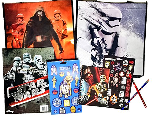 8 Item Disney Star Wars: The Force Awakens Bundle Exclusive [Character Journal, 2-Pocket File Folder, 47 Stickers, 2 Pencils, 2 Tote Bags (Kylo Ren Lightsaber & First Order Snow Trooper)] 53 Pieces