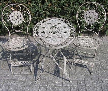 Jugendstil Gartenmöbel Set French Gray - 1 Tisch, 2 Stuhle - Eisen