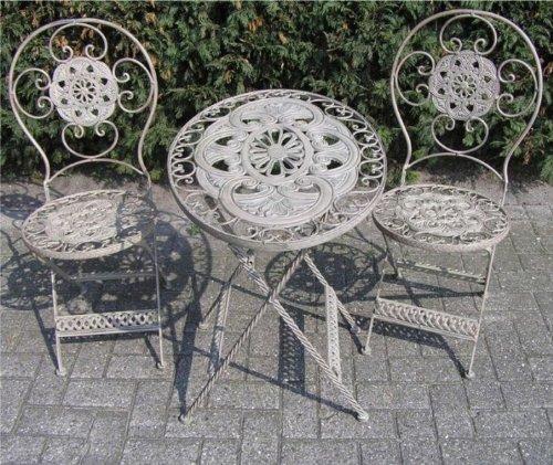 Casa-Padrino Jugendstil Gartenmöbel Set French Gray - 1 Tisch, 2 Stühle - Eisen