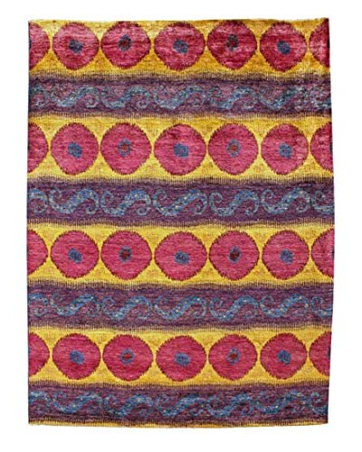 nuLOOM One-of-a-Kind Gia Hand-Knotted Suzani Area Rug, Gold, 4' 10 x 8' 1