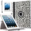 iPad Case, ULAK Premium Patterned PU Leather 360 Degree Rotating Smart Stand Case Cover for Apple iPad 2 iPad 3 iPad 4 New iPad with Screen Protector Stylus and Auto Wake/Sleep Function (Grey Leopard Skin)