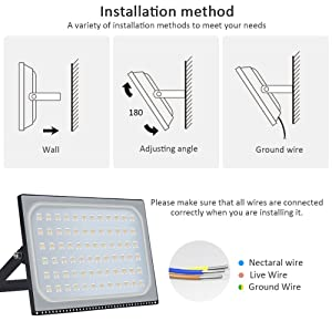 Heilsa 500W LED Flood Light, 55000LM 2800-3000K (Warm White) IP67 Waterproof Super Bright Outdoor Floodlight for Garden Yard, Lawn, Playground, Basketball Court (Color: 500w Warm White, Tamaño: V)