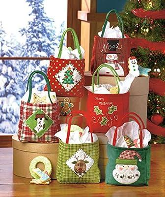 Holiday Christmas Cloth Gift Bags Set of Six