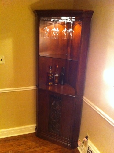 Howard miller 690 000 piedmont corner wine cabinet furniture decor Home bar furniture amazon