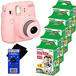Fujifilm Instax Mini 8 Instant Film Camera (Pink) + Fujifilm Instax Mini Instant Film (100 sheets) + HeroFiber® Ultra Gentle Cleaning Cloth