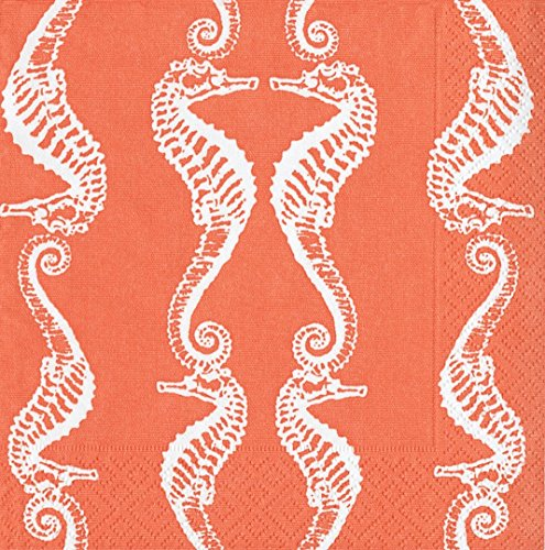 Entertaining with Caspari Seahorses Coral, Cocktail Napkin, Pack of 20