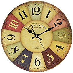 Tuscan Wall Clock, Petforu Fashion 14 Inch Vintage France Paris Colourful French Country Tuscan Style Non-Ticking Silent Paris Wood Wall Clock Arabic Numbers