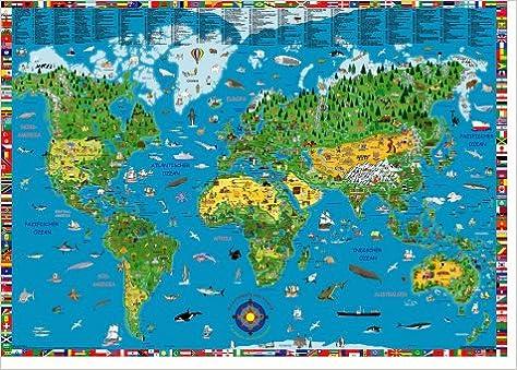 Illustrierte Weltkarte für Kinder und Erwachsene. Poster ...
