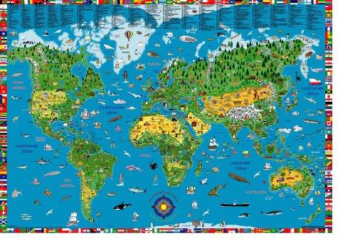 Illustrierte Weltkarte für Kinder und Erwachsene. Poster