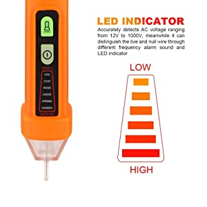 Non Contact Voltage Tester Pen Flashlight, Electric AC Voltage Detector Pen, Electrical 12-1000V compact pocket battery Multimeter voltage tester indu
