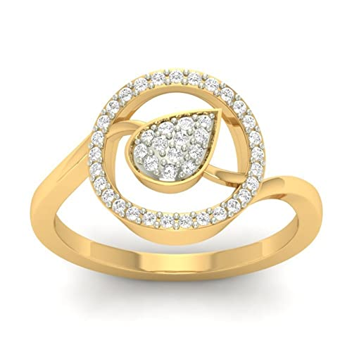 18K Yellow Gold 0.27cttw Round-Cut-Diamond (F-G Color, VVS Clarity) Diamond Ring
