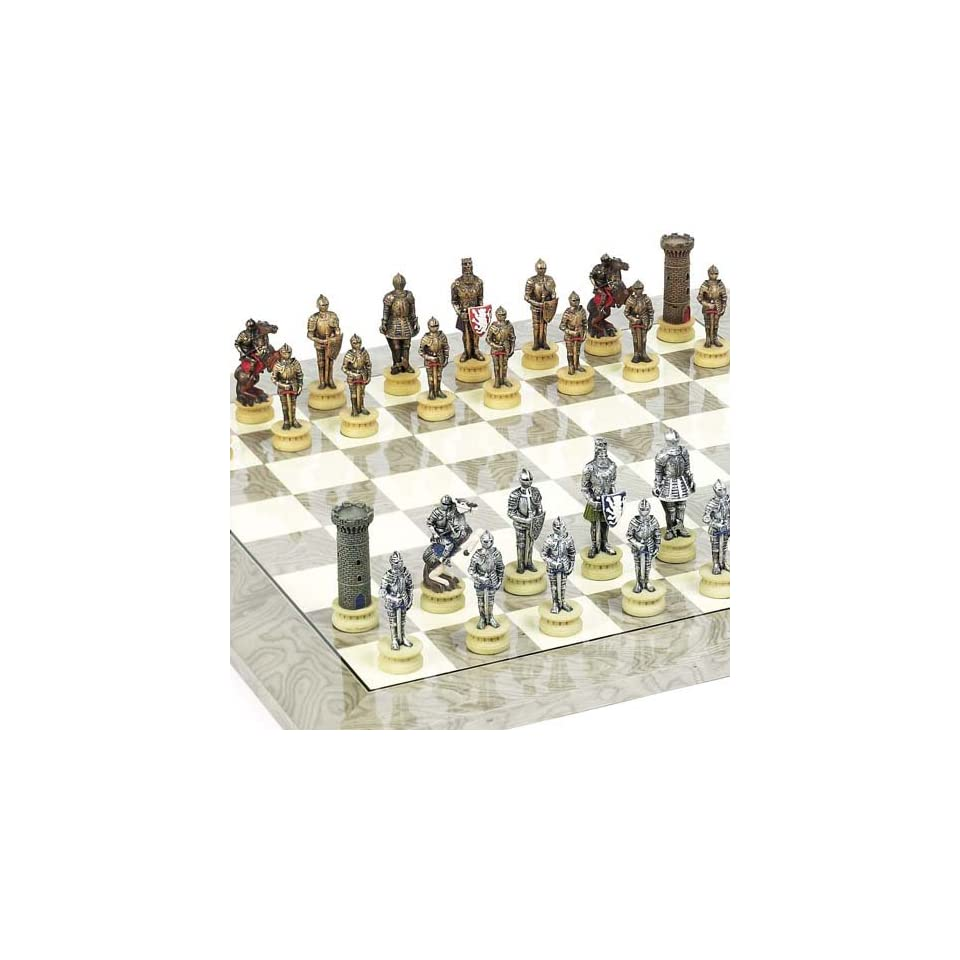 Medieval Chessmen & Greenwich Street Chess Board From Spain