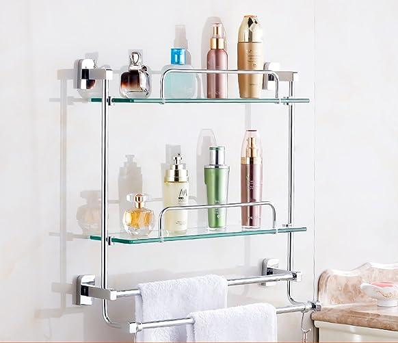 Mensola del bagno / mensola di vetro del bagno dell'acciaio inossidabile 304 a parete Dimensioni: 30/35/40/45/50/60 * 48 * 12cm Mensola Bagno ( dimensioni : 60cm )