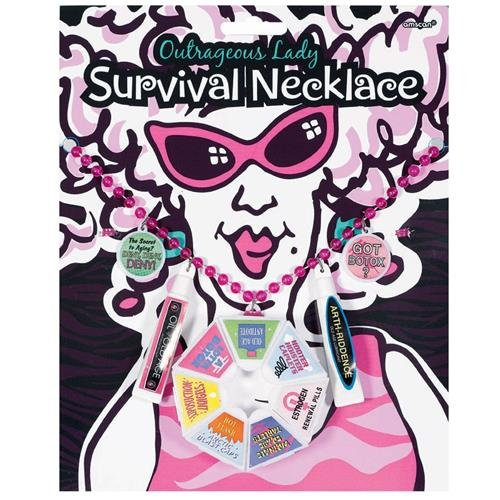 Outrageous Lady Survival Necklace Over The Hill Novelty Parties Celebrations Fun