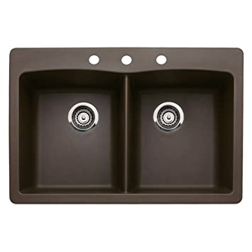 Blanco 440218-3 Diamond 3-Hole Double-Basin Drop-In or Undermount Granite Kitchen Sink, Cafe Brown