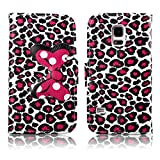 Fashion Youth Series Cute Design Bow Bowknot Leopard Print Wallet Flip Case Folio PU Leather Stand Cover with Card Slots for Samsung Galaxy S5 Mini G800 + Free Lovely Gift
