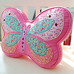 iHappy Pink Butterfly Shape Plush Embroidery Cushion Kids Decorative Bed Throw Pillow