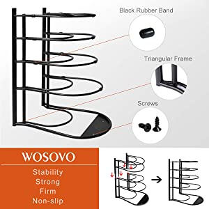 Pan Pot Lid Rack Organizer Shelf Heavy Duty, Kitchen Cabinet Cookware Rack Countertop Pantry Storage Holder, Black (Upgraded version) (Color: Black, Tamaño: Single Side)