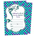 Mermaid Girl Baby Shower Invitation - Fill In Style (10 Count + Envelopes)