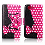 Fashion Cute Cartoon Pattern Black Pink Bow Bowknot Wallet Flip Case Folio PU Leather Stand Cover with Card Slots for Sony Xperia Z3 Compact D5803 + Free Lovely Gift