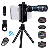 Cell Phone Camera Lens Kit for iPhone and Android, Cellphone Lenses Kit with Tripod and Shutter Remote, 5 in 1 Zoom Universal Telescope Lens+ Wide Angle Lens+ Micro Lens+ Fisheye Lens+ CPL Lens (Color: 18X, Tamaño: 5 in 1 lens kits)