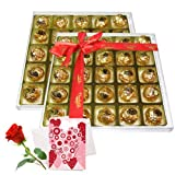 Valentine Chocholik's Luxury Chocolates - Truly In Love Chocolate Box With Love Card And Rose