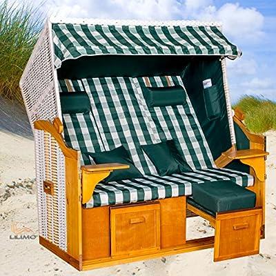 Strandkorb Ostsee BCG XXL weiß, Bezug grün-weiß kariert, von LILIMO