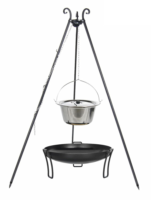 Gulaschkessel 10 ltr. Edelstahl mit Deckel auf Dreibein, inkl. Feuerschale # 39 online kaufen