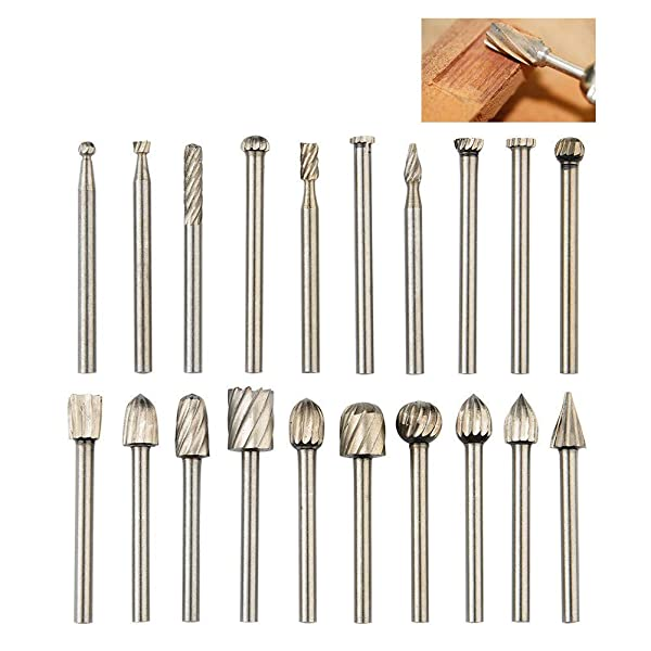 QLOUNI 20pcs Rotary Bit Burrs Set HSS Tungsten Carbide Wood Milling Burrs with 1/8''(3mm) Shank for DIY Woodworking, Carving, Engraving, Drilling