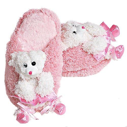 Cheap Posh International Girls Pink Soft Fuzzy Ballerina Bear Slippers M-L (PO-069)