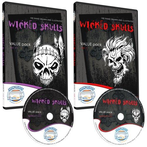 Skulls Clipart-Vinyl Cutter Plotter Clip Art Images-Sign Design Vector Art Graphics Cd-Rom (Volumes 1+2) front-811836