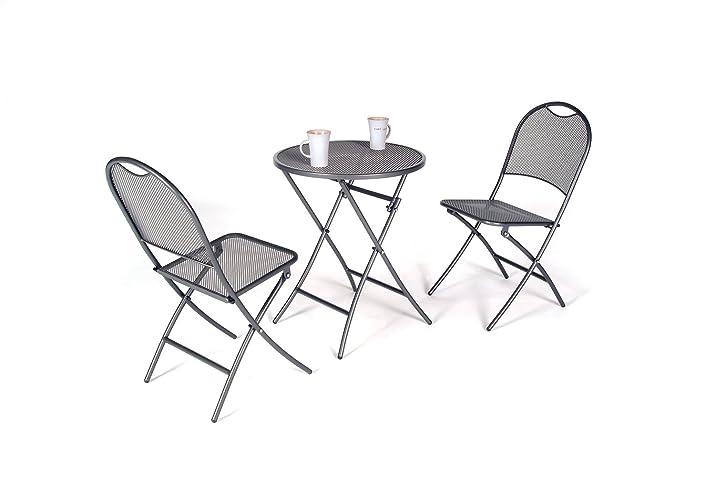 Brema 052148 Set da balcone in maglia d'acciaio /lamiera stirata, 3 pezzi, 2 sedie pieghevoli e tavolo pieghevole rotondo, 55 cm, grigio ferro