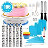 FantasyDay 106-Piece Cake Decorating Supplies Baking Tools with 54 Piping Nozzles Icing Tips, 25 Disposable Bags, 12 cupcake, 2 Reusable Pastry Bags, 3 Couplers, 2 Spatulas, 3 Scrapers, Cake Turntable (Color: #5)