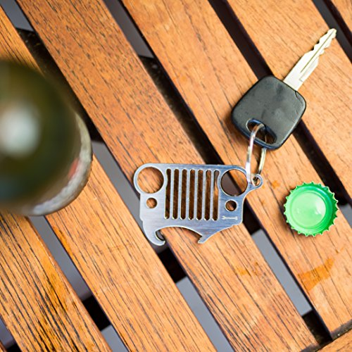 jeep grill key chain bottle opener 304 stainless steel keychain wrangler silver ebay. Black Bedroom Furniture Sets. Home Design Ideas